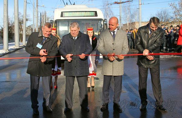 В Гродно состоялось торжественное открытие нового троллейбусного маршрута и презентация бесконтактного троллейбуса