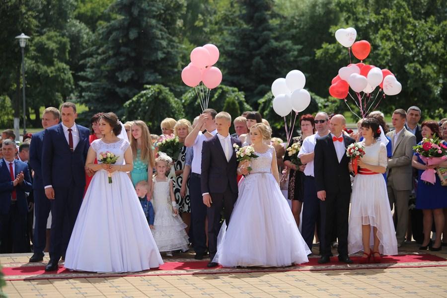 Большая свадьба: в Лиде одновременно поженились семь пар (фото)