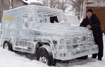 Народный умелец сделал «Геленваген» из льда – и тот поехал