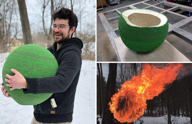 Зелёный шар из 42 тысяч спичек всего за год работы