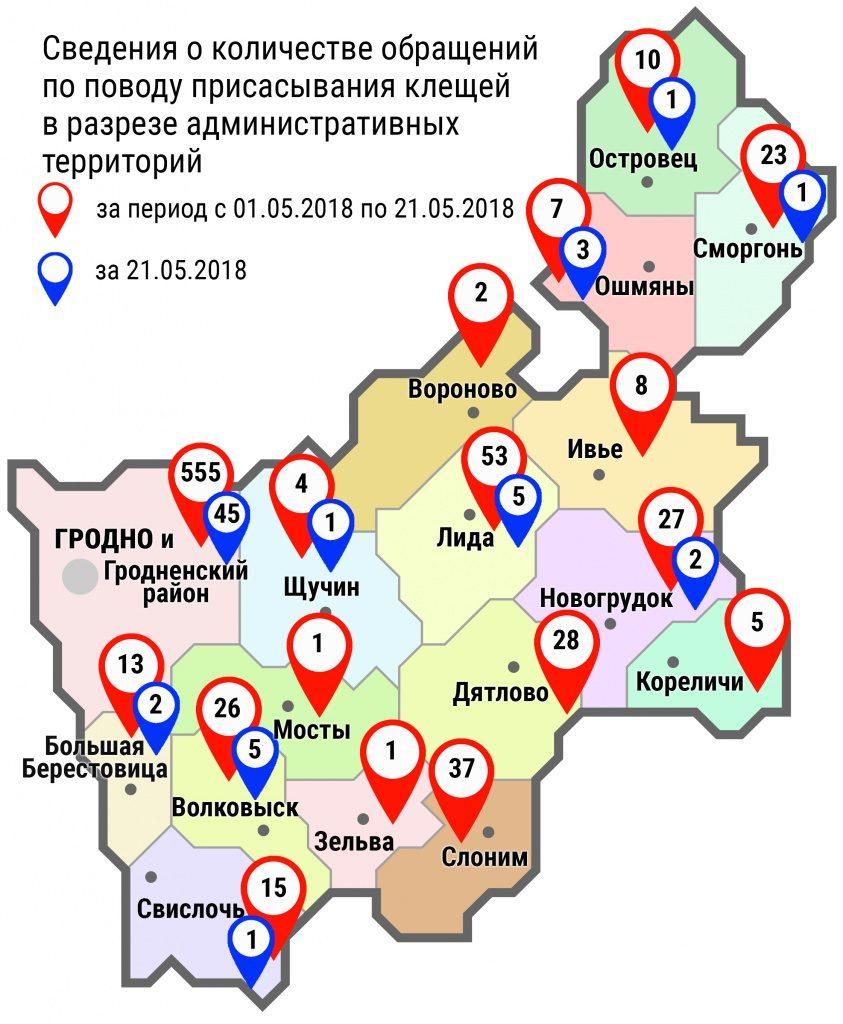 С начала мая в организации здравоохранения области по поводу укусов клещей обратились 816 человек, в том числе вчера, 21 мая, — 66 человек