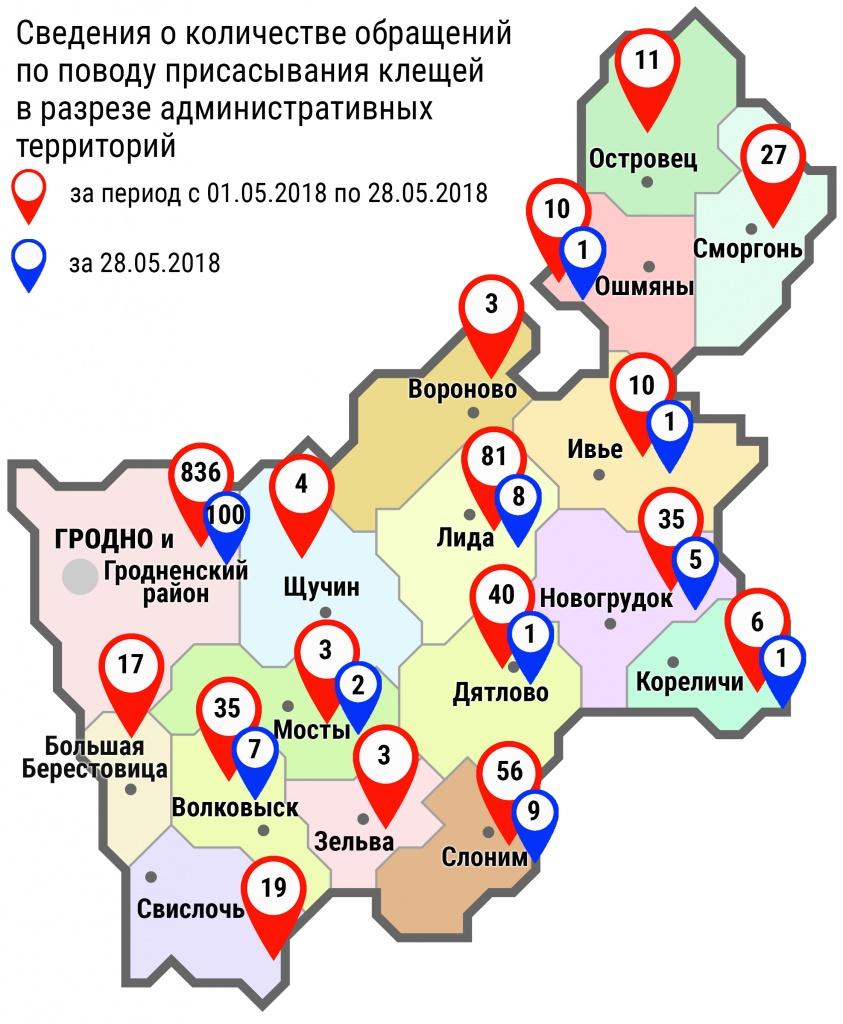 С начала мая в организации здравоохранения области по поводу укусов клещей обратились 1196 человек, в том числе вчера, 28 мая — 135 человек