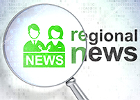 News concept: Anchorman and Regional News with optical glass