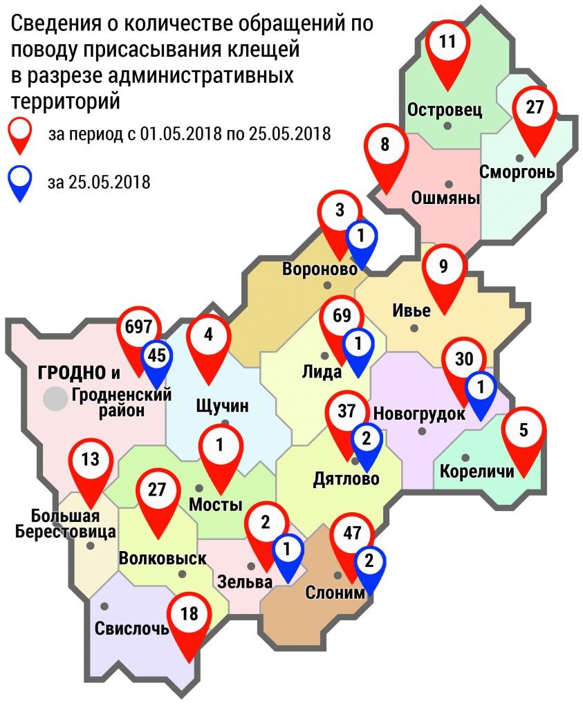 С начала мая в организации здравоохранения области по поводу укусов клещей обратились 1008 человек, в том числе вчера, 25 мая, — 53 человека
