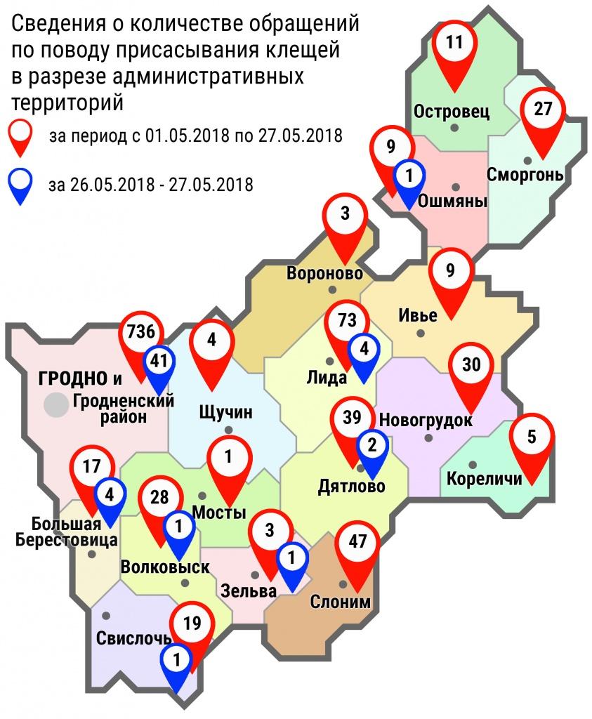 С начала мая в области по поводу укусов клещей обратились 1063 человек, в том числе за минувшие субботу и воскресенье – 55 человек