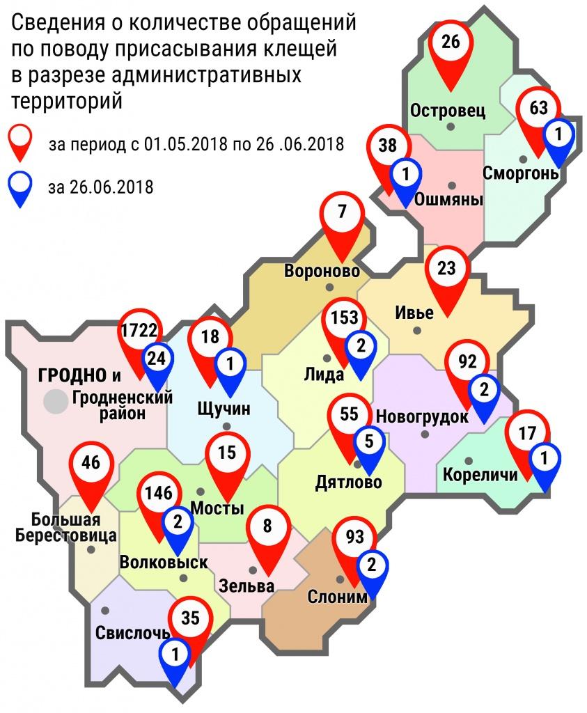 С начала мая в области по поводу укусов клещей обратились 2557 человек, в том числе вчера, 26 июня, – 40 человек