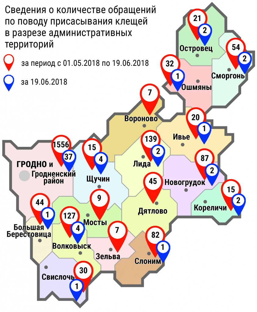 С начала мая в области по поводу укусов клещей обратились 2290 человек, в том числе вчера, 19 июня, – 60 человек