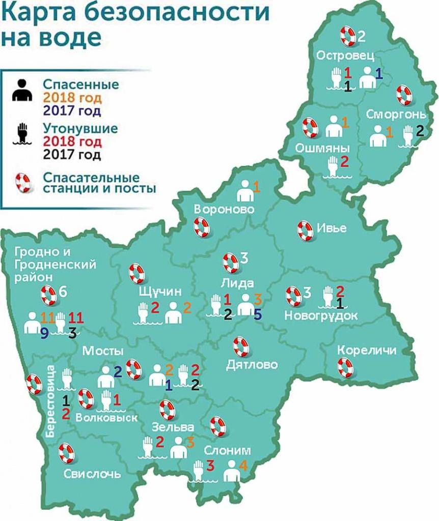 Карта безопасности на воде. Трагический случай на Немане и спасание в Вороновском и Слонимском районах