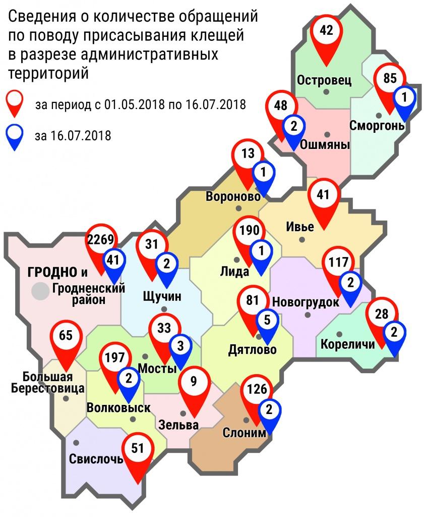 С начала мая в области по поводу укусов клещей обратились 3426 человек, в том числе вчера, 16 июля, – 64 человека