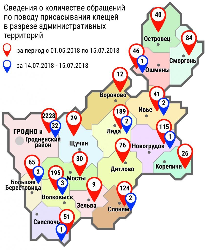 С начала мая в области по поводу укусов клещей обратились 3360 человек, в том числе за минувшие субботу и воскресенье – 46 человек