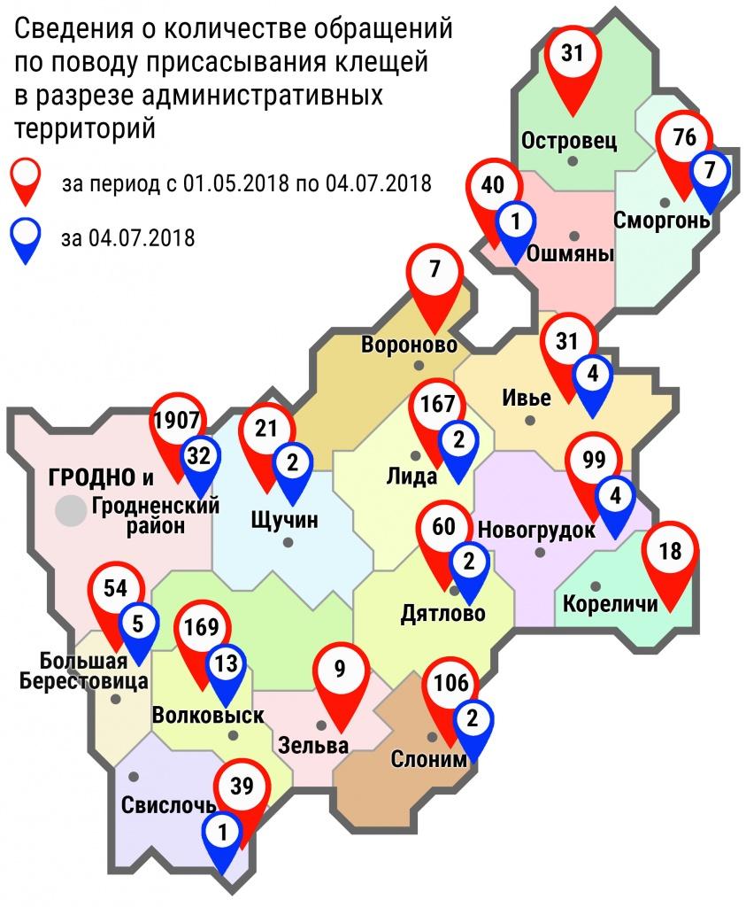 С начала мая в области по поводу укусов клещей обратились 2855 человек, в том числе вчера, 4 июля, – 75 человек