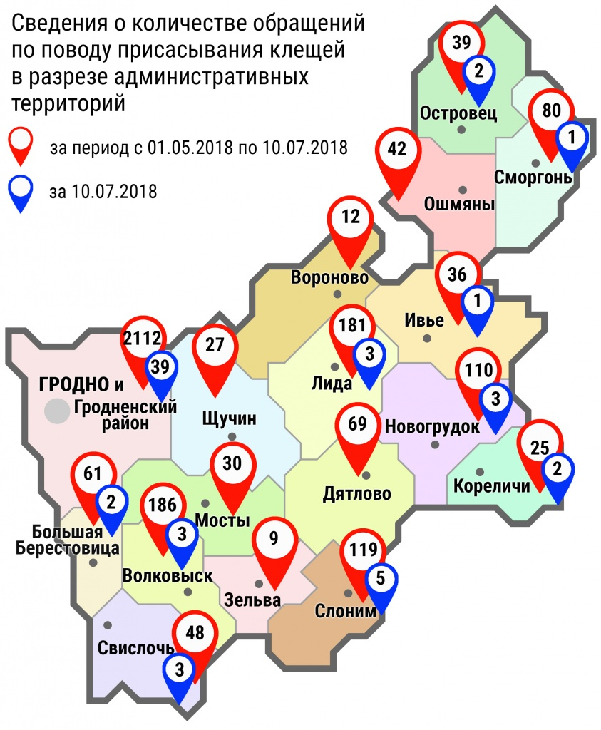 С начала мая в области по поводу укусов клещей обратились 3186 человек, в том числе вчера, 10 июля, – 64 человека