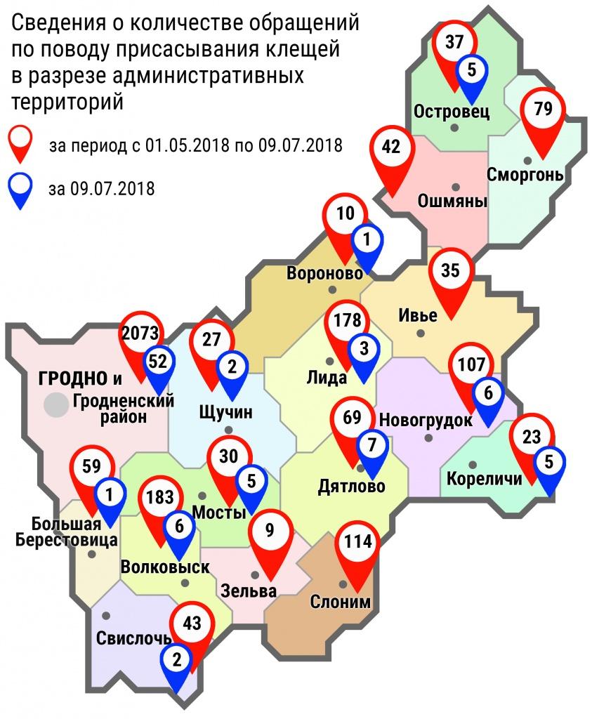 С начала мая в области по поводу укусов клещей обратились 3122 человека, в том числе вчера, 9 июля, – 95 человек