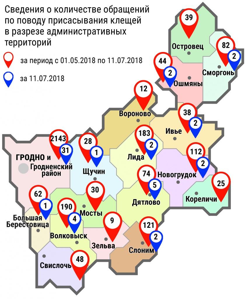 С начала мая в области по поводу укусов клещей обратились 3240 человек, в том числе вчера, 11 июля, – 54 человека