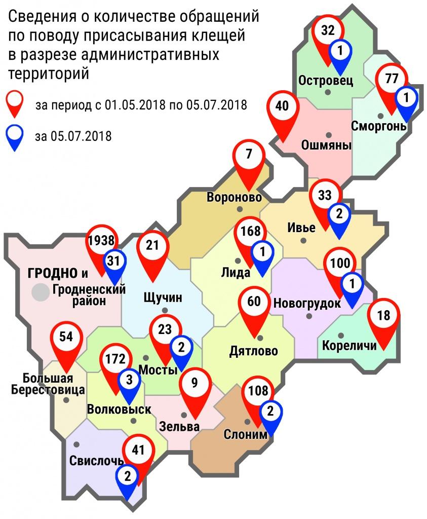 С начала мая в области по поводу укусов клещей обратились 2901 человек, в том числе вчера, 5 июля, – 46 человек