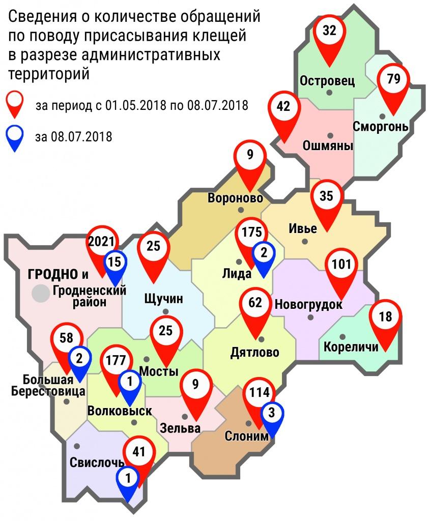 С начала мая в области по поводу укусов клещей обратились 3025 человек, в том числе за минувшие субботу и воскресенье – 24 человека