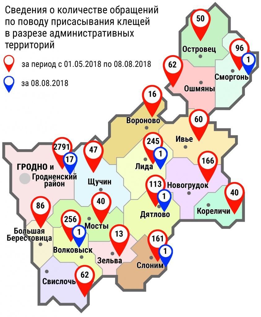 С начала мая в области по поводу укусов клещей обратились 4304 человека, в том числе вчера, 8 августа, 22 человека