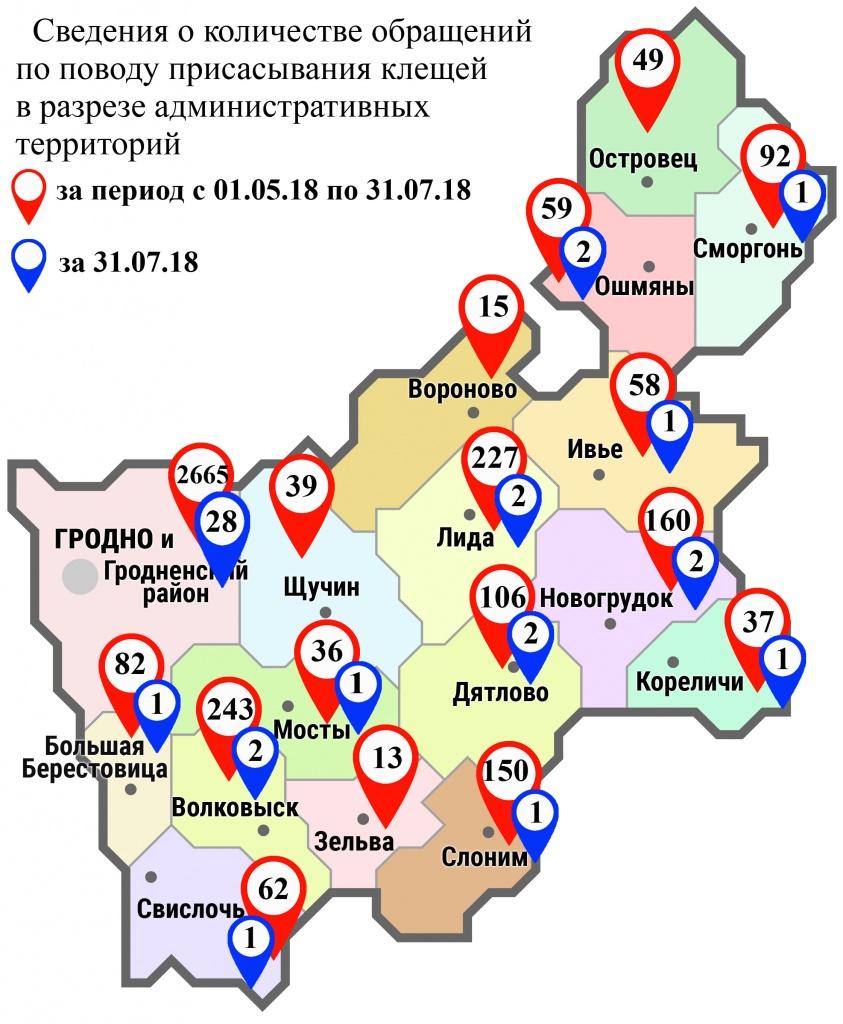 С начала мая в области по поводу укусов клещей обратились 4093 человека, в том числе вчера, 31 июля, — 45 человек