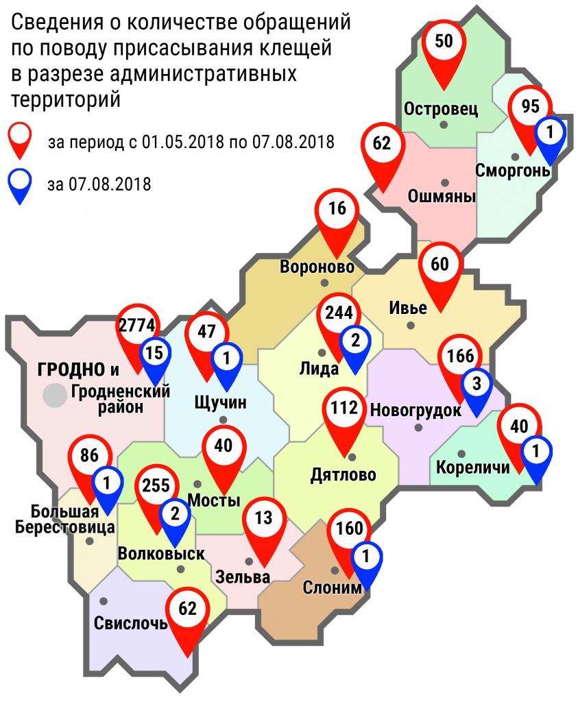 С начала мая в области по поводу укусов клещей обратились 4282 человека, в том числе вчера, 7 августа, 27 человек