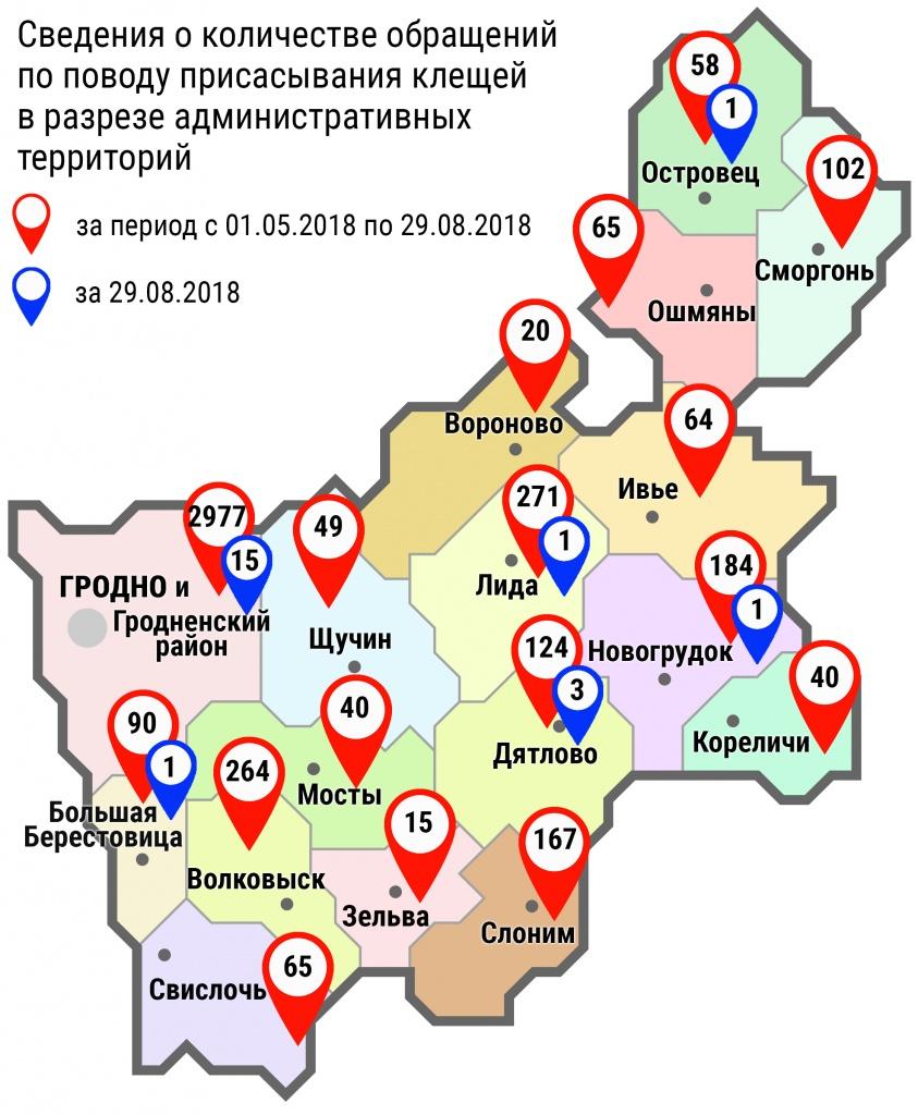 С начала мая в области по поводу укусов клещей обратились 4595 человек, в том числе вчера, 29 августа, – 22 человека