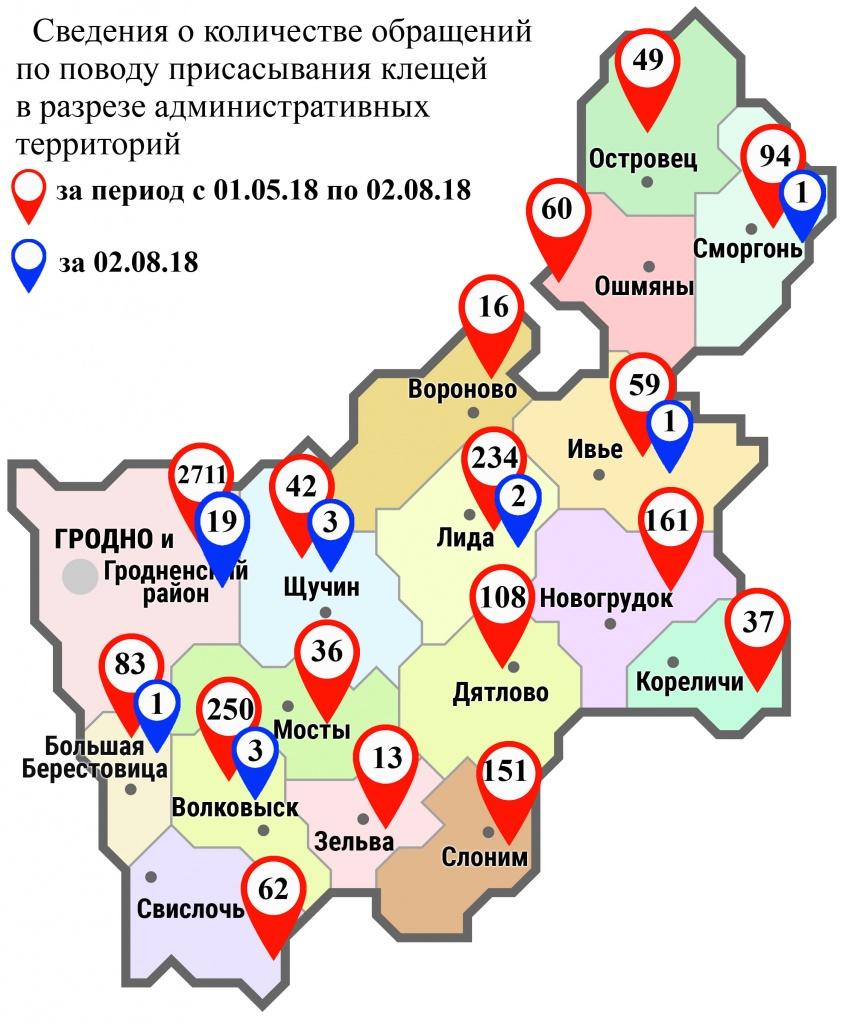 С начала мая в области по поводу укусов клещей обратились 4166 человек, в том числе вчера, 2 августа, 30 человек
