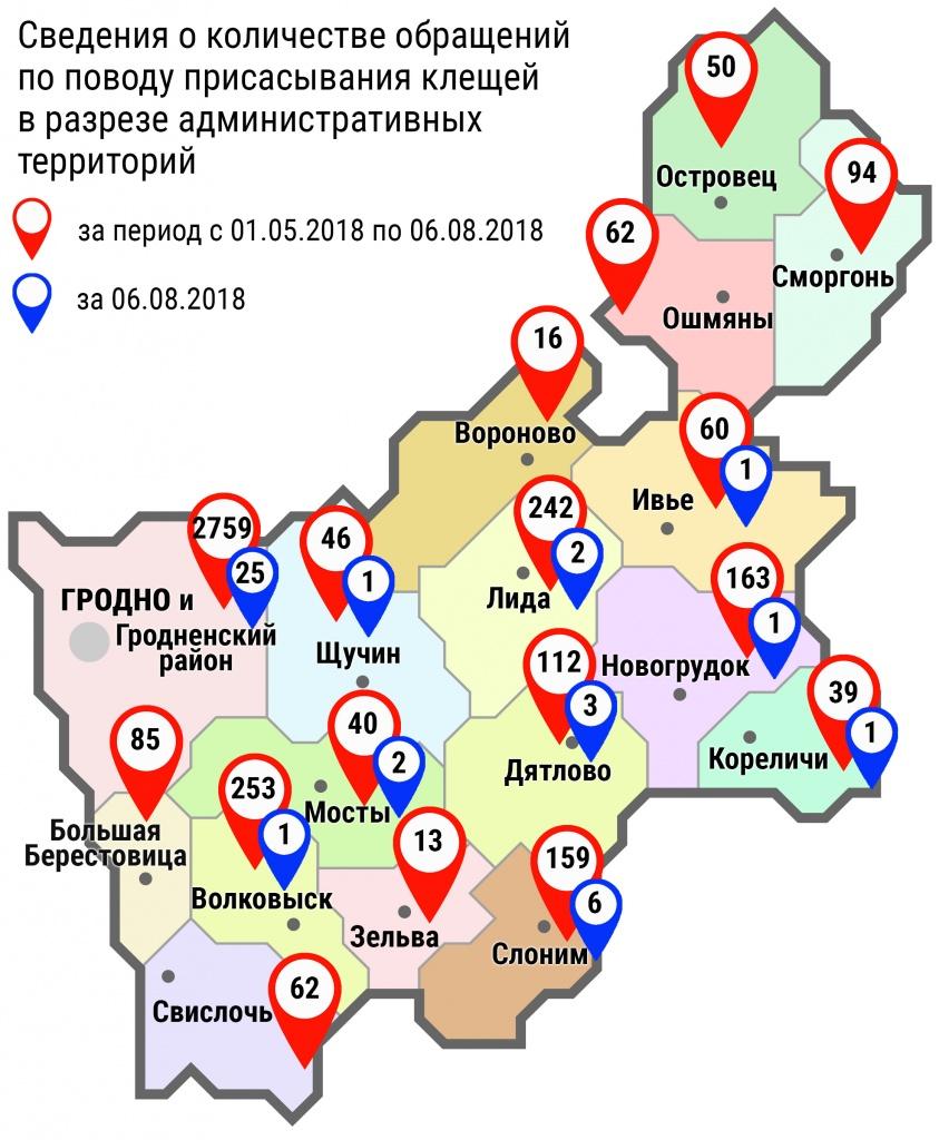 С начала мая в области по поводу укусов клещей обратились 4255 человек, в том числе вчера, 6 августа, 43 человека