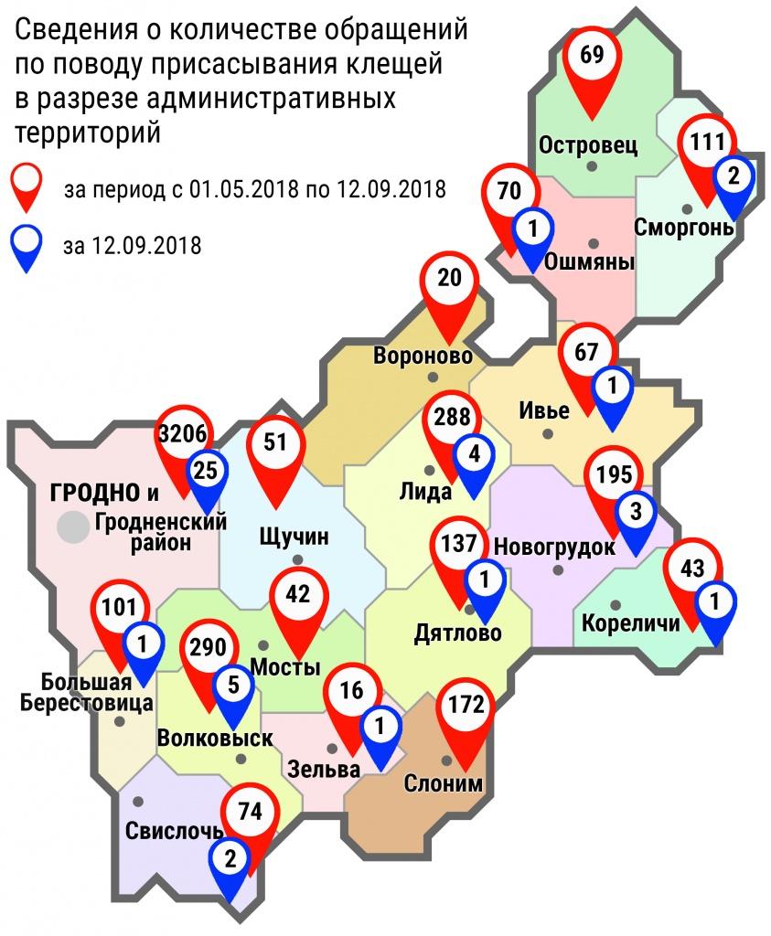 С начала мая в области по поводу укусов клещей обратились 4952 человека, в том числе вчера, 12 сентября, – 47 человек