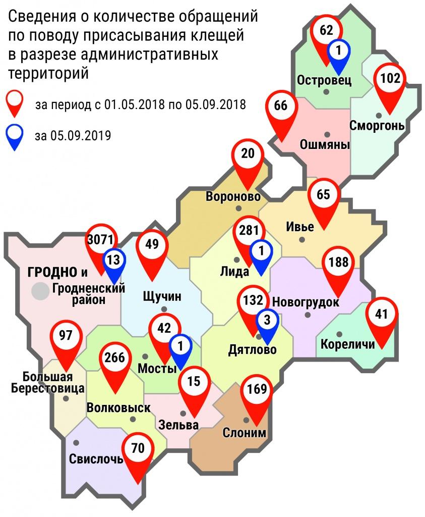 С начала мая в области по поводу укусов клещей обратились 4736 человек, в том числе вчера, 5 сентября, – 19 человек
