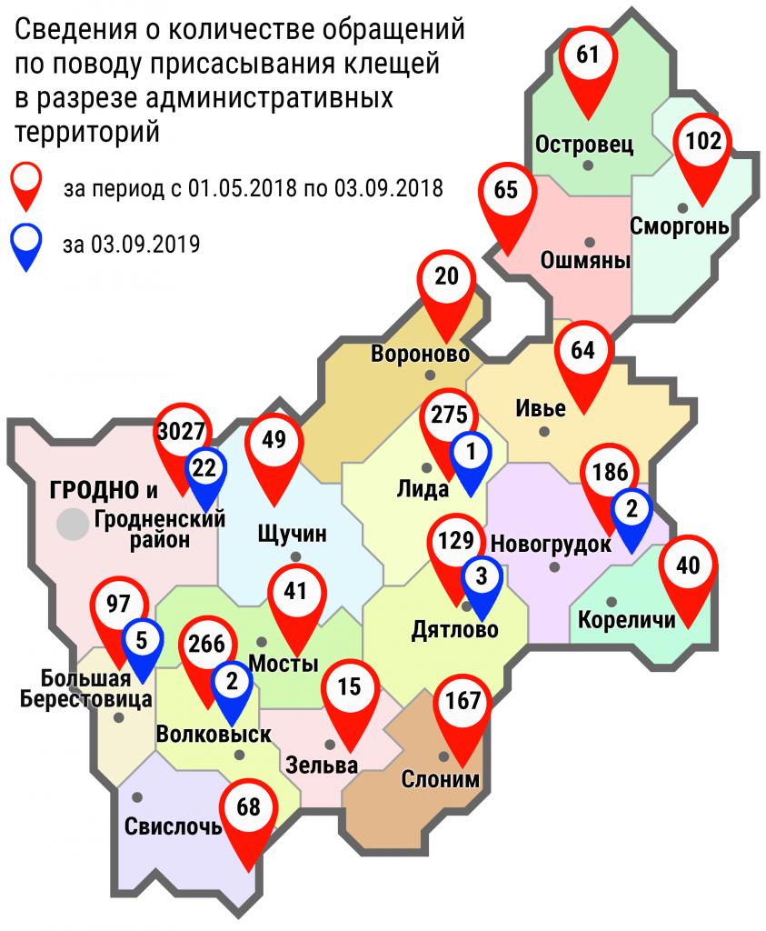 С начала мая в области по поводу укусов клещей обратились 4672 человека, в том числе вчера, 3 сентября, – 35 человек