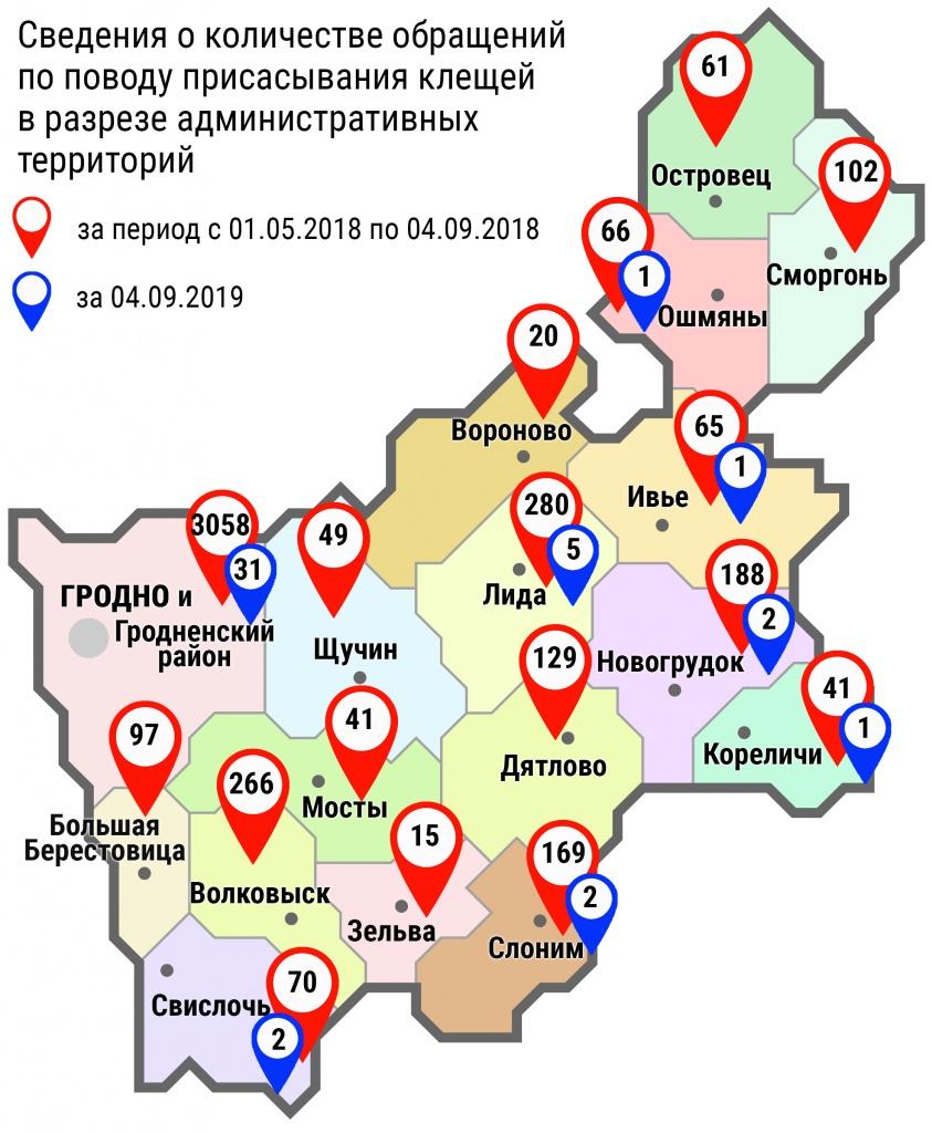 С начала мая в области по поводу укусов клещей обратились 4717 человек, в том числе вчера, 4 сентября, – 45 человек