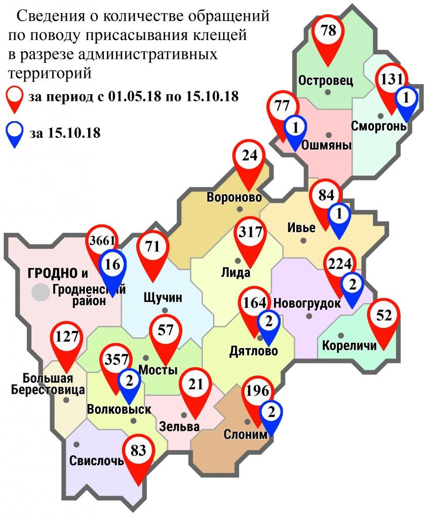 С начала мая в области по поводу укусов клещей обратились 5729 человек, в том числе вчера, 15 октября, – 27 человек