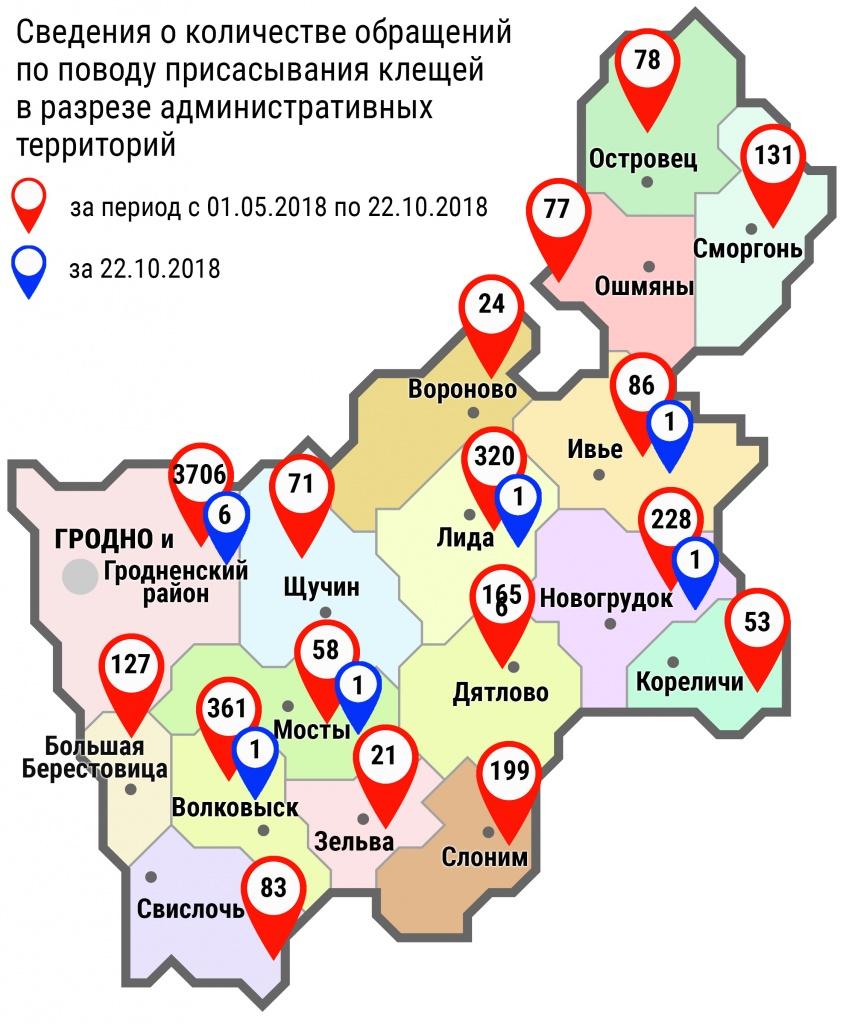 С начала мая в области по поводу укусов клещей обратились 5788 человек, в том числе вчера, 22 октября, – 10 человек