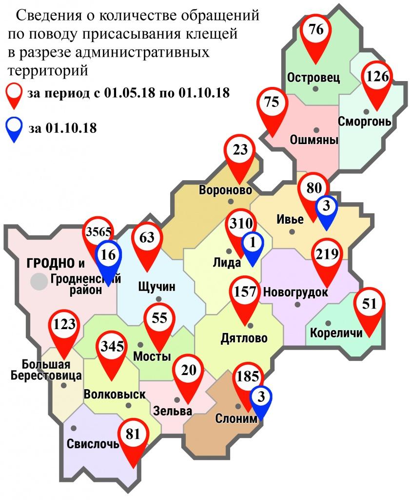С начала мая в области по поводу укусов клещей обратились 5554 человека, в том числе вчера, 1 октября, – 23 человека