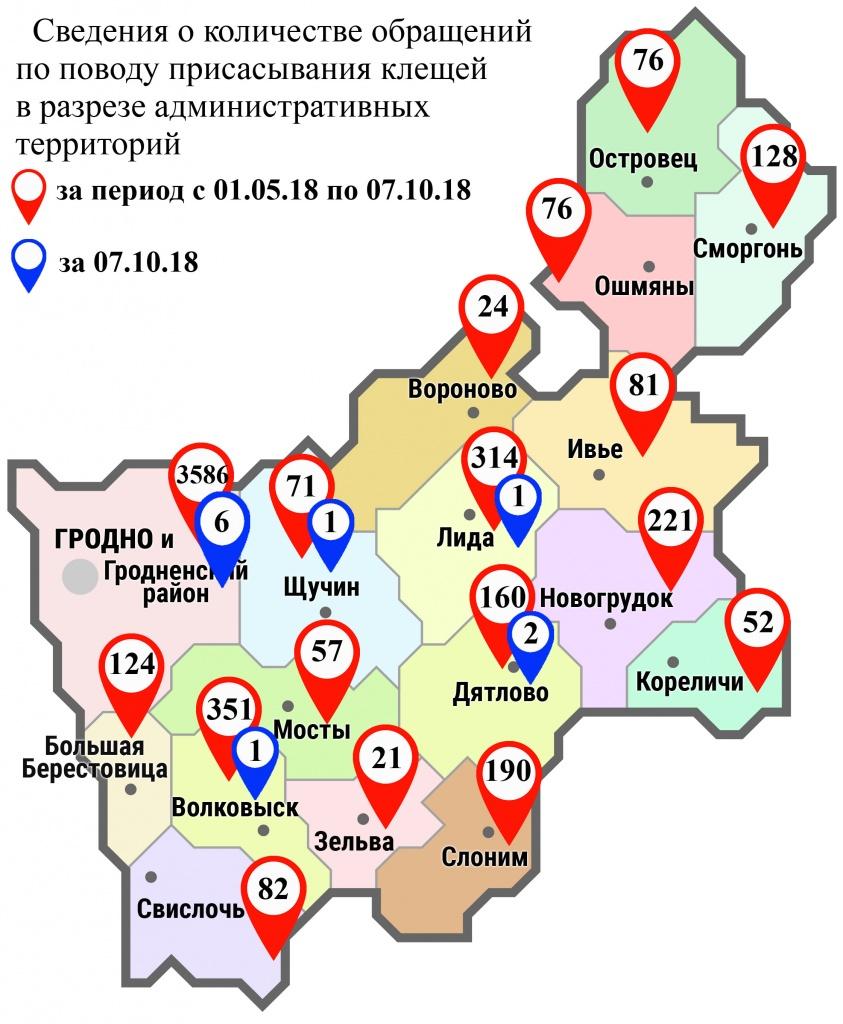 С начала мая в области по поводу укусов клещей обратились 5619 человек, в том числе вчера, 7 октября, – 11 человек