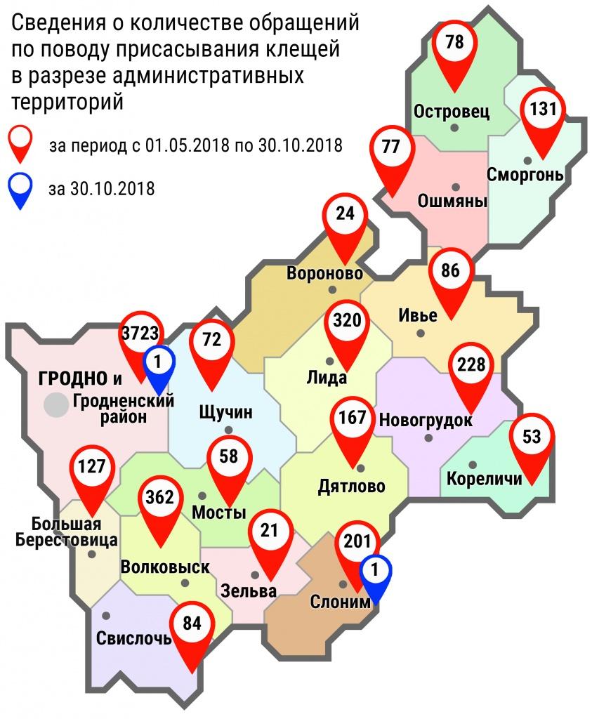 С начала мая в области по поводу укусов клещей обратились 5812 человек, в том числе вчера, 30 октября, – 2 человека