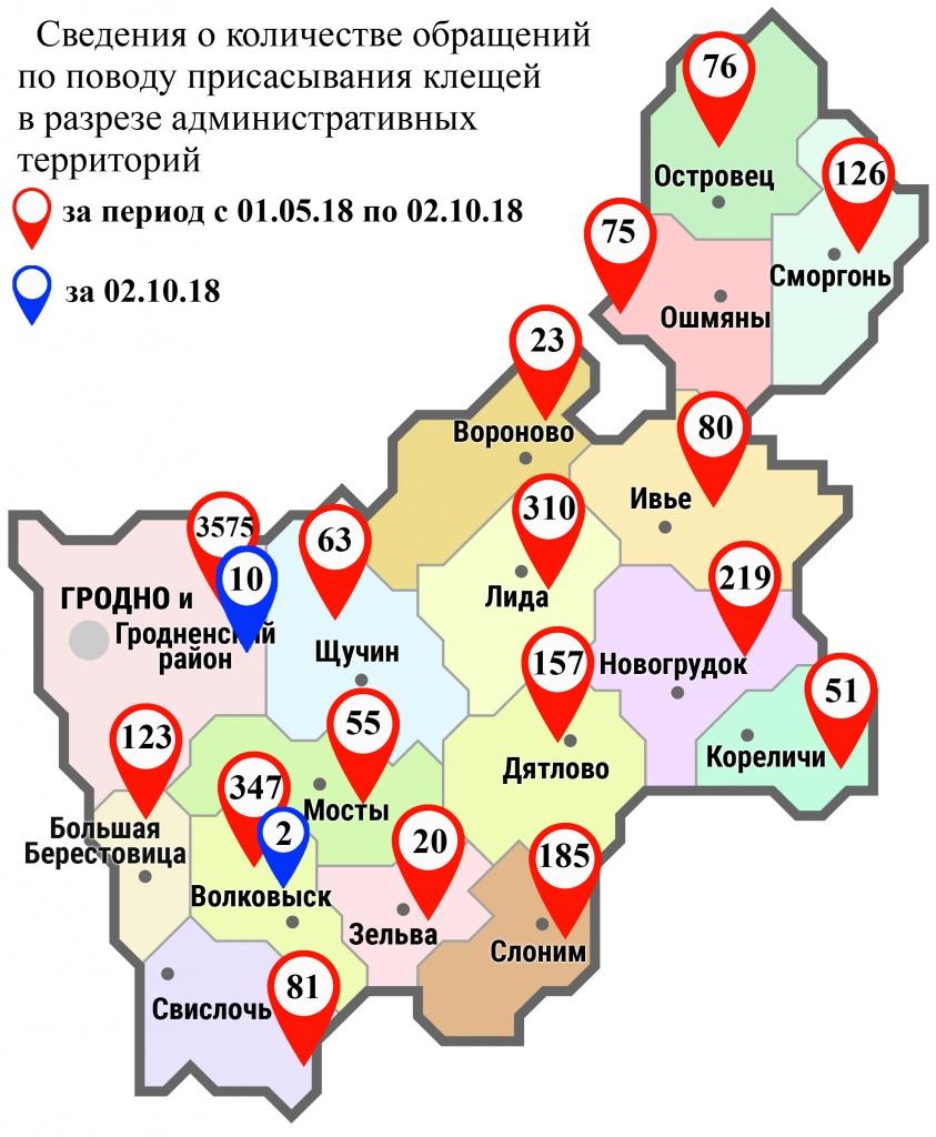 С начала мая в области по поводу укусов клещей обратились 5566 человек, в том числе вчера, 2 октября, – 12 человек