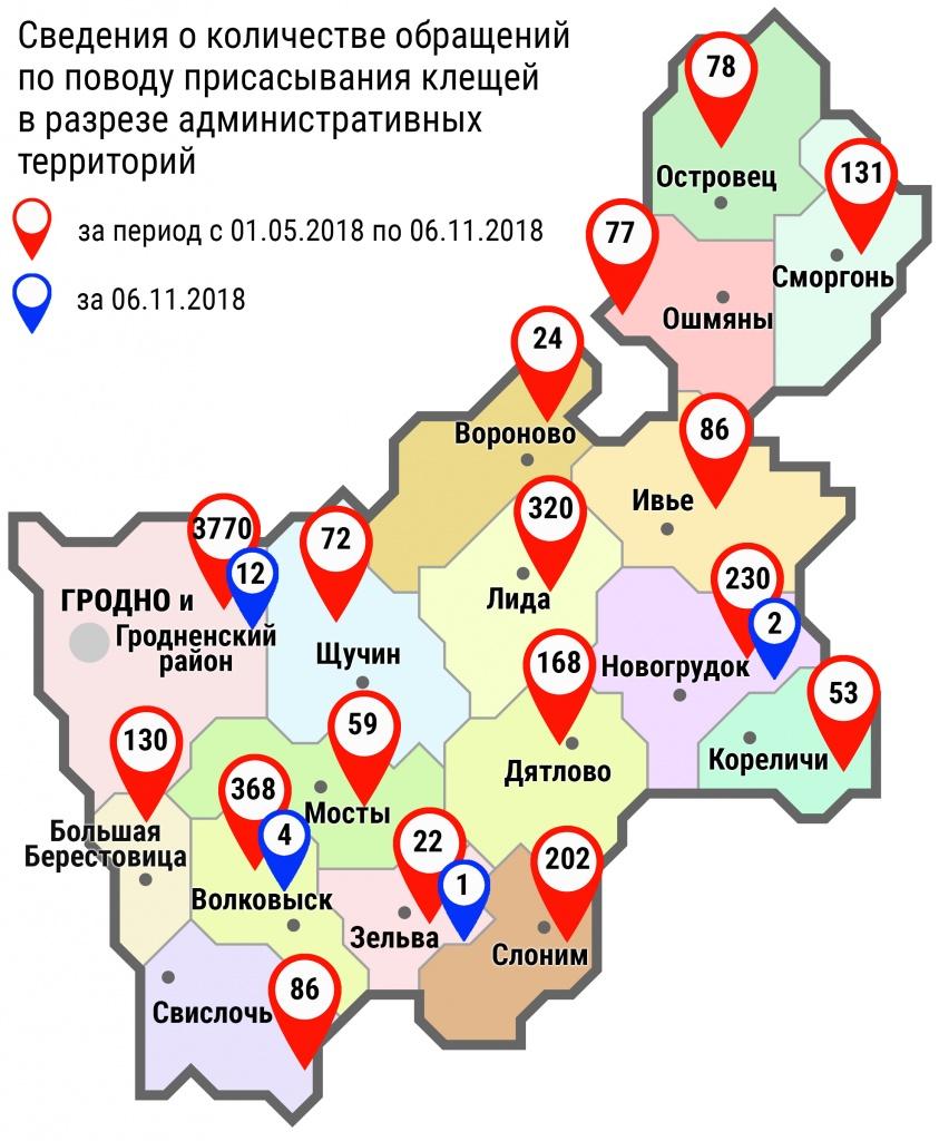 С начала мая в области по поводу укусов клещей обратились 5876 человек, в том числе вчера, 6 ноября, – 19 человек