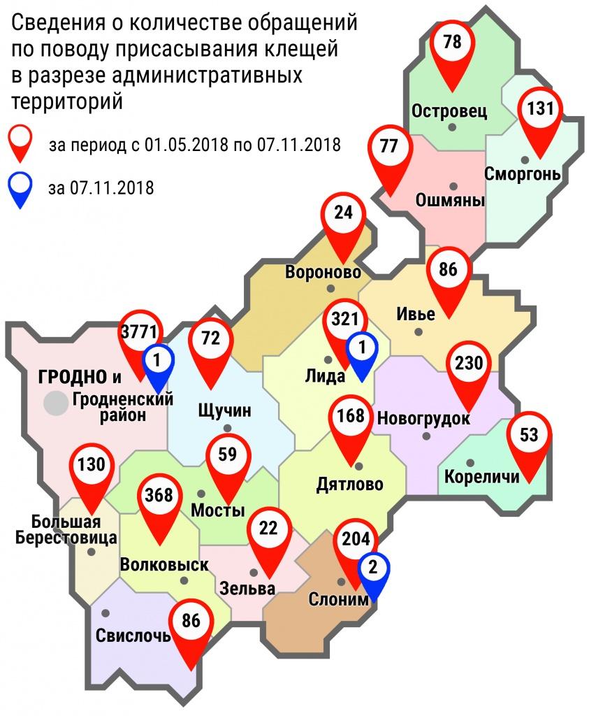 С начала мая в области по поводу укусов клещей обратились 5880 человек, в том числе вчера, 7 ноября, – 4 человека