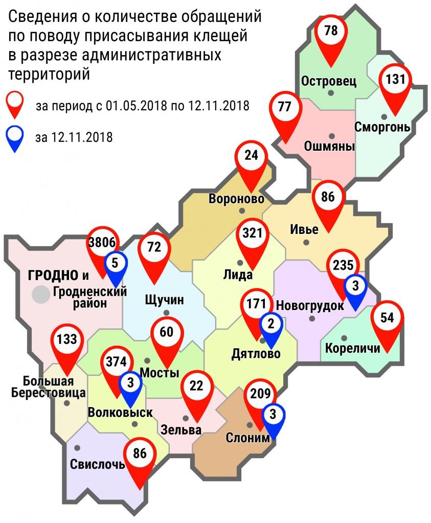С начала мая в области по поводу укусов клещей обратились 5939 человек, в том числе вчера, 12 ноября, – 16 человек