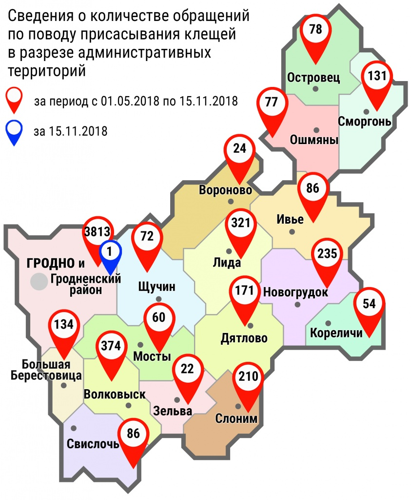 С начала мая в области по поводу укусов клещей обратились 5948 человек, в том числе вчера, 15 ноября, – 1 человек