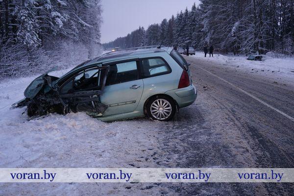 В Вороновском районе произошло лобовое столкновение автомобилей