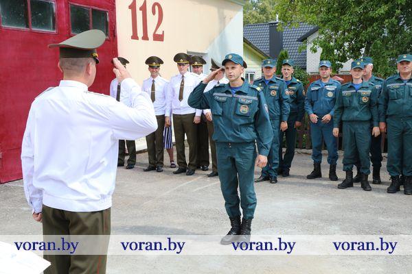 Торжественное построение личного состава Вороновского РОЧС в День пожарной службы