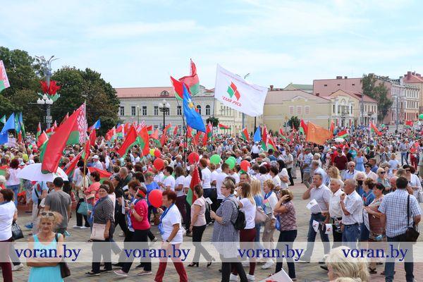 «За независимость, мир и спокойствие!» Вороновчане присоединились к акции «За Беларусь!», которая прошла в Гродно